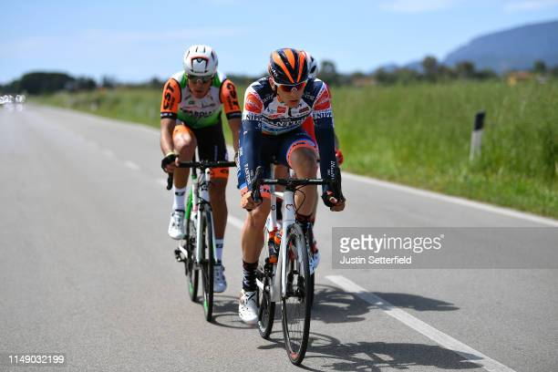 Damiano Cima of Italy and Team Nippo Vini Fantini - Faizane / Marco Frapporti of Italy and Team Androni Giocattoli - Sidermec / Mirco Maestri of...