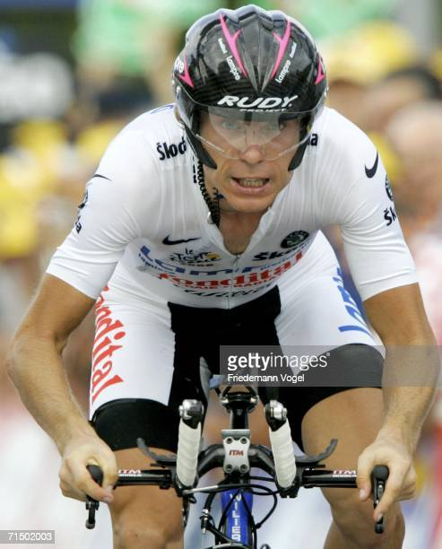 Damiano Cunego of Italy and Lampre in action during Stage 19 time trial of the 93rd Tour de France between Le Creusot and Montceau-les-Mines on July...