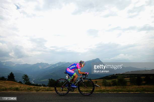 Damiano Cunego of Italy and Lampre-Merida rides during stage seventeen of the 2013 Tour de France, a 32KM Individual Time Trial from Embrun to...
