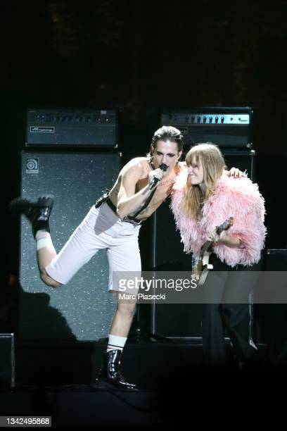 Damiano David and Victoria De Angelis of the Maneskin, perform at the Global Citizen Live on September 25, 2021 in Paris, France.