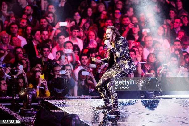 Damiano David, leader of Maneskin band performs during the X Factor 11 finale on December 14, 2017 at Assago Forum in Milan, Italy.