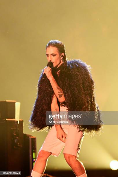 Damiano David of the Maneskin, performs at the Global Citizen Live on September 25, 2021 in Paris, France.