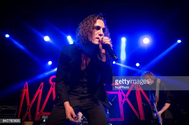 Damiano David singer of Maneskin performing live at Teatro Quirinetta in Rome, Italy on 6 April 2018.