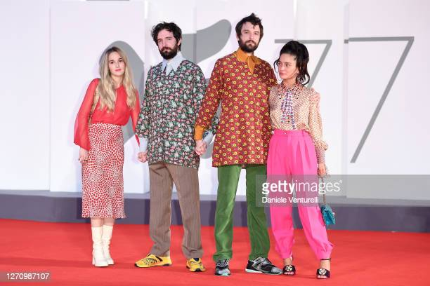 """Damiano D'Innocenzo, Fabio D'Innocenzo and guests walk the red carpet ahead of the movie """"The World To Come"""" at the 77th Venice Film Festival on..."""