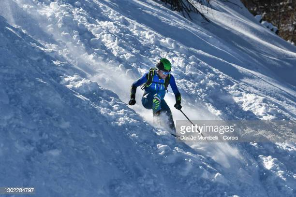 Damiano Lenzi in action while facing the difficult slopes of the final part of the race during Italian Team Ski Mountaineering Championships on...