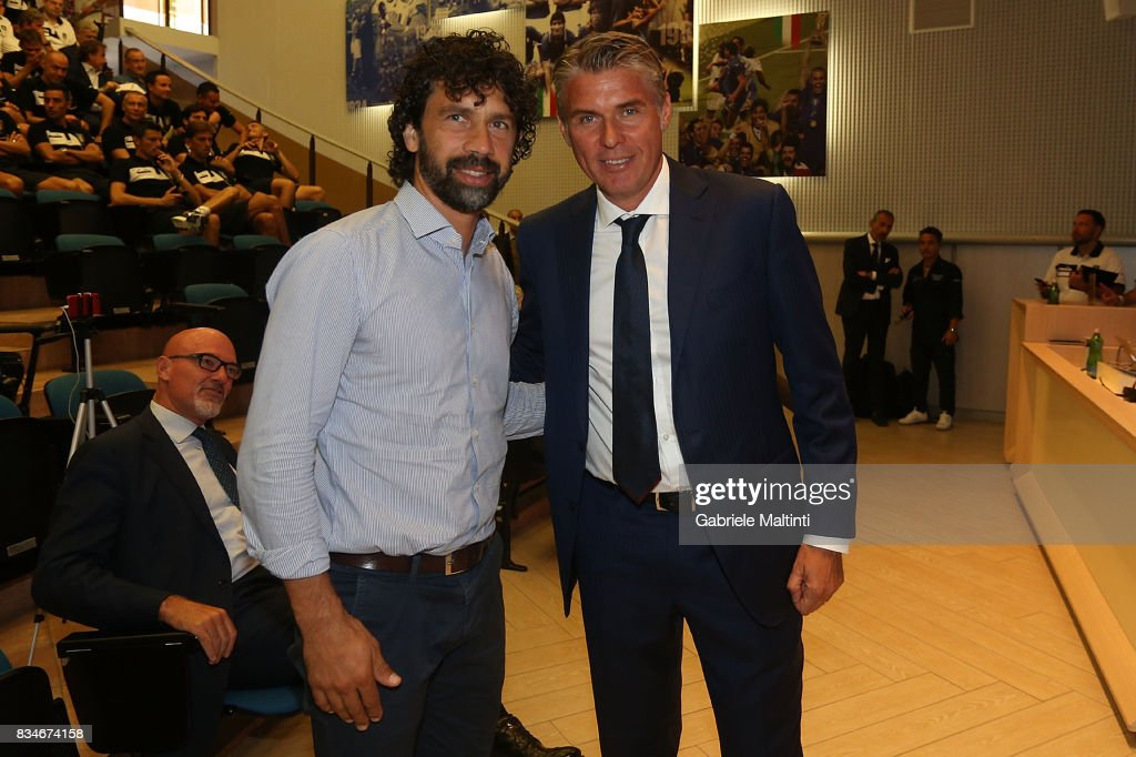 Damiano Tommasi president of Italian Football Association and Roberto Rosetti of AIA at Coverciano on August 18, 2017 in Florence, Italy.