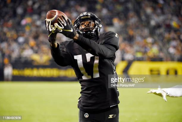 DamianWashington of the Birmingham Iron catches a touchdown pass during the fourth quarter against the San Diego Fleet in an Alliance of American...