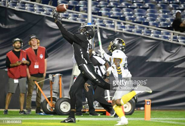 Damian Washington of the Birmingham Iron catches a touchdown pass during the fourth quarter against the San Diego Fleet in an Alliance of American...