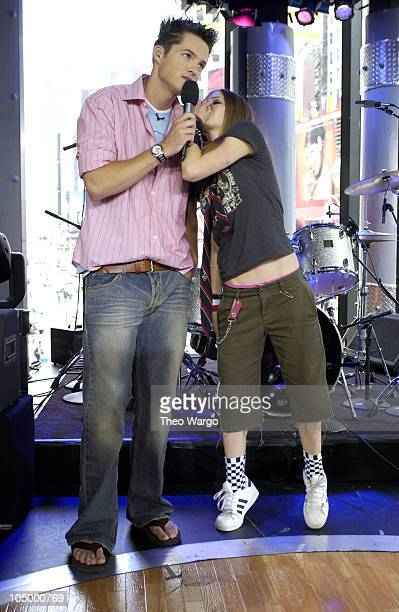 Damien and Avril Lavigne during Avril Lavigne Visits MTV's 'TRL' August 22 2002 at MTV Studios Times Square in New York City New York United States