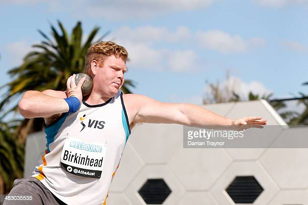 Damien Birkenhead competes in the mens shot put during the 92nd Australian Athletics Championships on April 6 2014 in Melbourne Australia