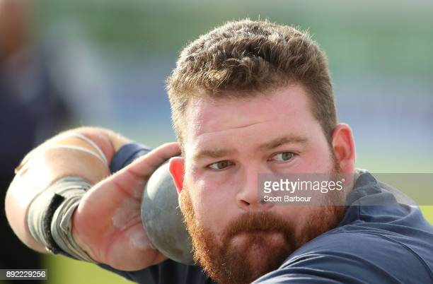 Damien Birkinhead of Corio competes in the Mens Shot Put Open during Zatopek 10 at Lakeside Stadium on December 14 2017 in Melbourne Australia