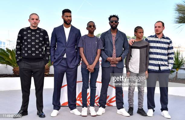 Damien Bonnard Djebril Didier Zonga Al Hassan Ly Director Ladj Ly Issa Perica and Alexis Manenti attend the photocall for Les Miserables during the...