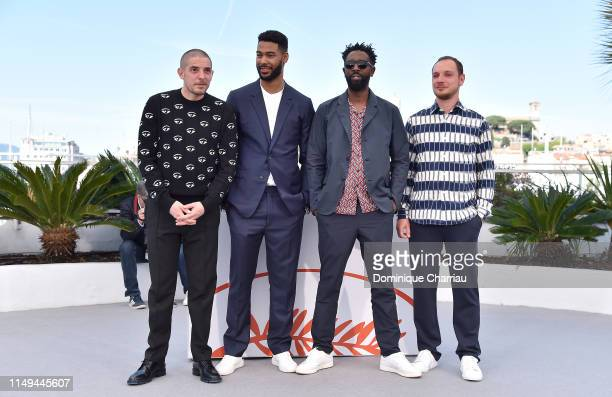 Damien Bonnard Djebril Zonga Ladj Ly and Alexis Manenti attend the photocall for Les Miserables during the 72nd annual Cannes Film Festival on May 16...