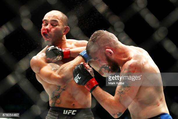 Damien Brown of Australia punches Frank Camacho of Guam in their lightweight bout bout during the UFC Fight Night at Qudos Bank Arena on November 19...