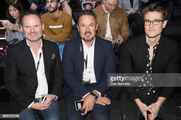 Damien Burke David Collins and James Keates attend the Justin Cassin show at MercedesBenz Fashion Week Resort 18 Collections at Carriageworks on May...