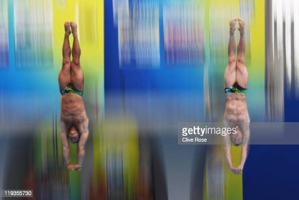 Damien Cely and Matthieu Rosset of France compete in the Men's 3m Springboard Synchro Final during Day Four of the 14th FINA World Championships at...