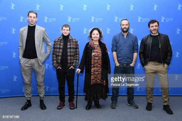 Damien Chapelle Anthony Bajon Hanna Schygulla Cedric Kahn and Alex Brendemuehl pose at the 'The Prayer' photo call during the 68th Berlinale...