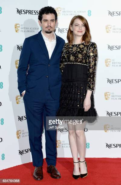Damien Chazelle and Emma Stone attend the BAFTA nominees party at Kensington Palace on February 11 2017 in London United Kingdom