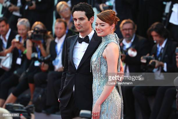 Damien Chazelle and Emma Stone attend the opening ceremony and premiere of 'La La Land' during the 73rd Venice Film Festival at Sala Grande on August...