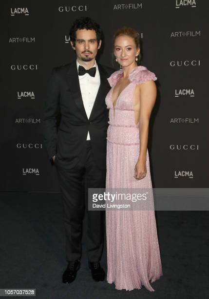 Damien Chazelle and Olivia Hamilton attend 2018 LACMA Art Film Gala honoring Catherine Opie and Guillermo del Toro presented by Gucci at LACMA on...