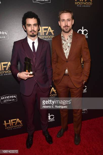 Damien Chazelle Hollywood Director Award recipient poses with Ryan Gosling in the press room during the 22nd Annual Hollywood Film Awards at The...