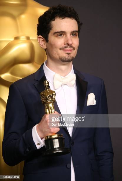 Damien Chazelle poses in the press room with the Oscar for Best Director for 'La La Land' at the 89th Annual Academy Awards at Hollywood Highland...