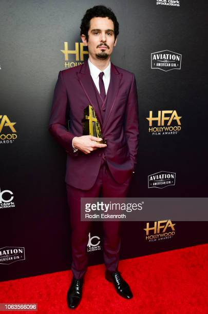 Damien Chazelle recipient of the Hollywood Director Award for 'First Man' poses in press room at the 22nd Annual Hollywood Film Awards on November 04...