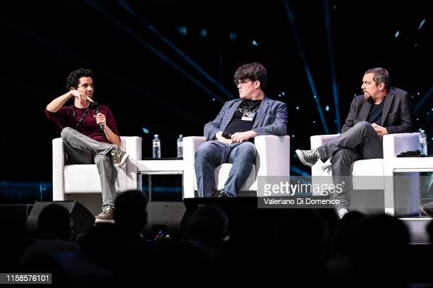 Damien Chazelle Stephen Slater and Todd Miller attend Starmus V A Giant Leap sponsored by Kaspersky at Samsung Hall on June 26 2019 in Zurich...