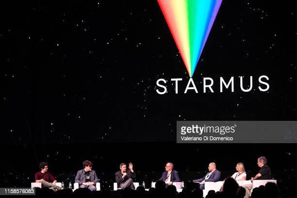 Damien Chazelle Stephen Slater Todd Miller James Hansen Dmitry Kiselyov Oksana Leonova and Rick Armstrong attend Starmus V A Giant Leap sponsored by...