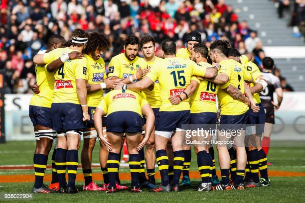 Damien Chouly and players of Clermont during the Top 14 match between Toulon and Clermont at Felix Mayol Stadium on March 25 2018 in Toulon France