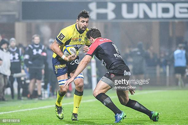 Damien Chouly of Clermont and Vincent Clerc of Toulon during the Top 14 match between Clermont Auvergne and RC Toulon on January 8 2017 in...