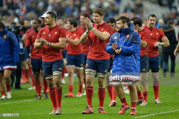 Damien Chouly Pascal Pape and Rabah Slimani of France of France celebrates the victory after the RBS Six Nations match between France and Scotland at...
