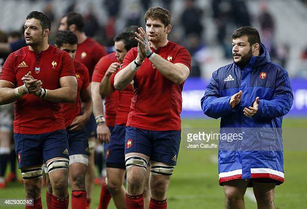 Damien Chouly Pascal Pape Rabah Slimani of France celebrate the victory after the RBS Six Nations rugby match between France and Scotland at Stade de...