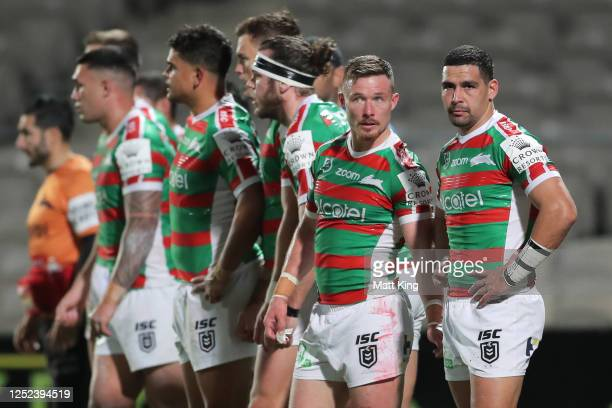 Damien Cook and Cody Walker look dejected after a Panthers try during the round seven NRL match between the Penrith Panthers and the South Sydney...