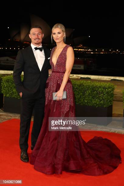 Damien Cook and Courtney Blaine arrive at the 2018 Dally M Awards at Overseas Passenger Terminal on September 26 2018 in Sydney Australia