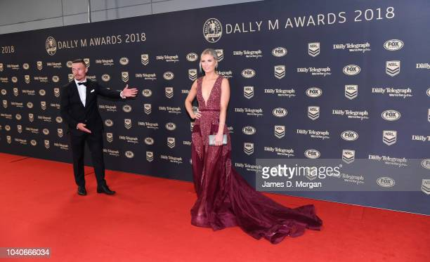 Damien Cook and Courtney Blaine attend the 2018 Dally M Awards on September 26 2018 in Sydney Australia