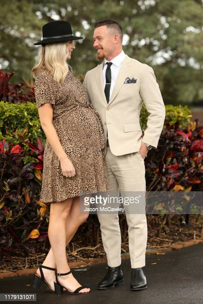 Damien Cook and Courtney Cook attends TAB Epsom Day at Royal Randwick Racecourse on October 05 2019 in Sydney Australia