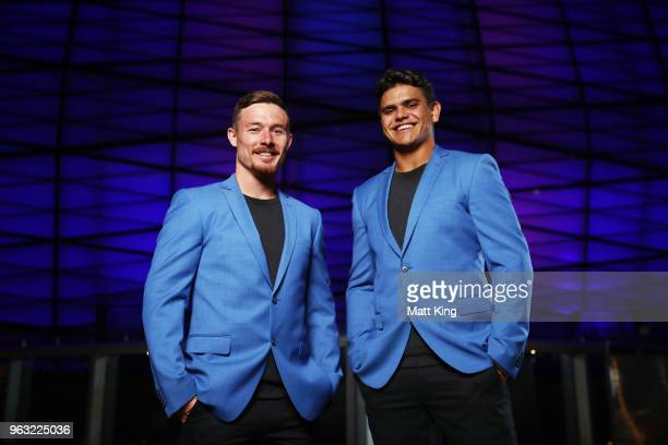 Damien Cook and Latrell Mitchell pose during the New South Wales Blues State of Origin Team Announcement at The Star on May 28 2018 in Sydney...