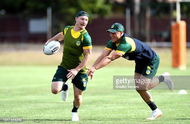 Damien Cook breaks away from the defence during an Australian Kangaroos training session at Carina Juniors on October 8 2018 in Brisbane Australia