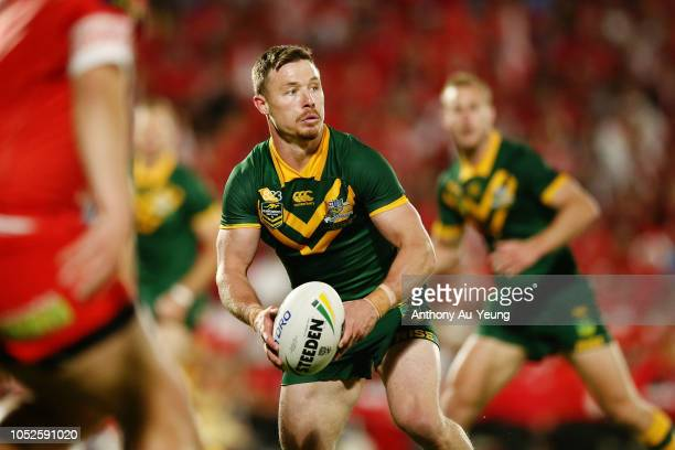 Damien Cook of Australia in action during the International Test match between Tonga and Australia at Mount Smart Stadium on October 20 2018 in...