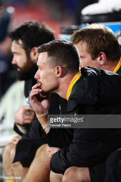 Damien Cook of Australia looks on during the international Rugby League Test Match between the New Zealand Kiwis and the Australia Kangaroos at Mt...