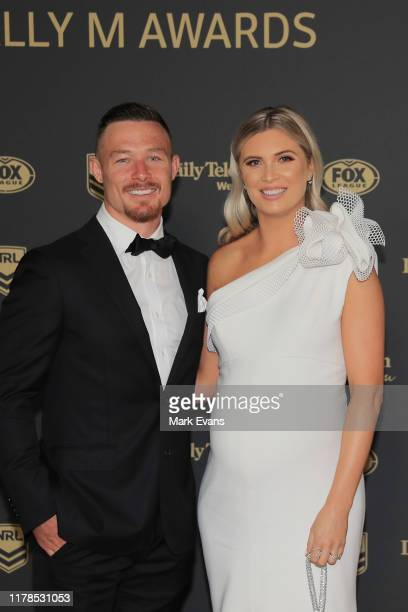 Damien Cook of Souths poses with wife Courtney Cook ahead of the 2019 Dally M Awards at the Hordern Pavilion on October 02 2019 in Sydney Australia