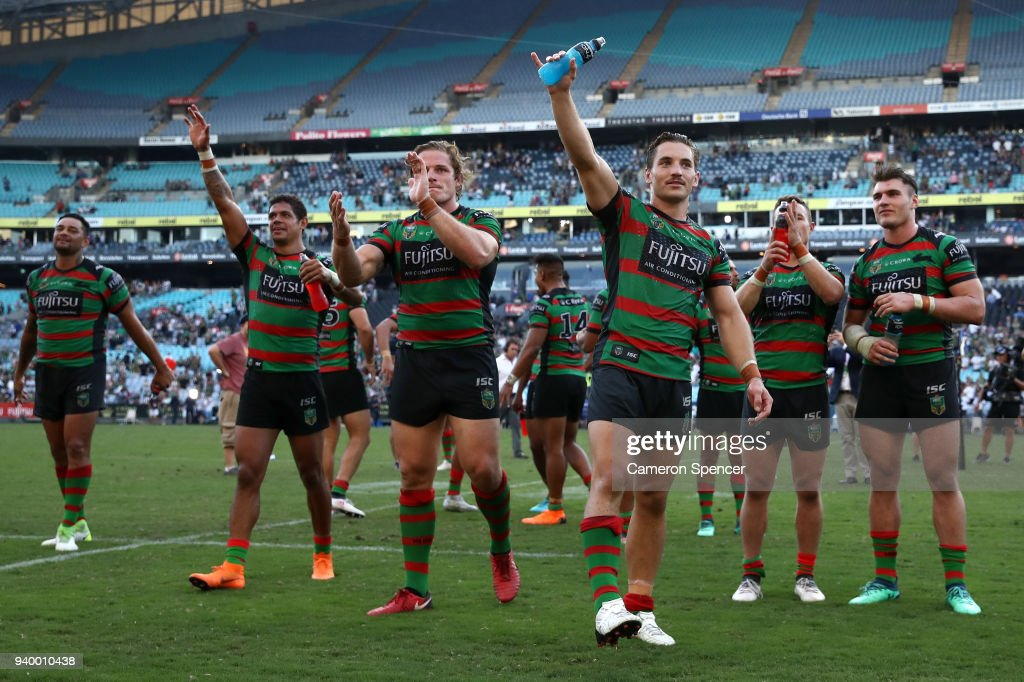 Damien Cook of the Rabbitohs and team mates thank fans after winnin the round four AFL match between the South Sydney Rabbitohs and the Canterbury Bulldogs at ANZ Stadium on March 30, 2018 in Sydney, Australia.