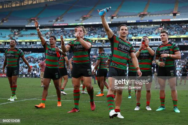 Damien Cook of the Rabbitohs and team mates thank fans after winnin the round four AFL match between the South Sydney Rabbitohs and the Canterbury...
