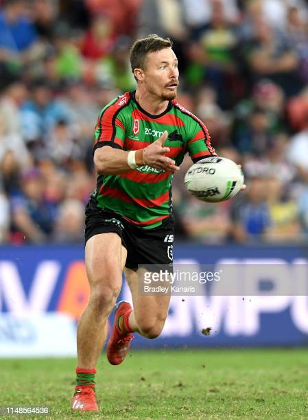 Damien Cook of the Rabbitohs passes the ball during the round nine NRL match between the South Sydney Rabbitohs and the North Queensland Cowboys at...