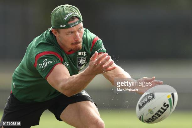 Damien Cook passes during a South Sydney Rabbitohs NRL training session at Redfern Oval on February 12 2018 in Sydney Australia