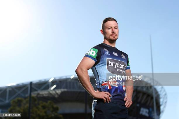 Damien Cook poses during a New South Wales Blues State of Origin Captain's Run at the NSWRL Centre of Excellence on July 09 2019 in Sydney Australia