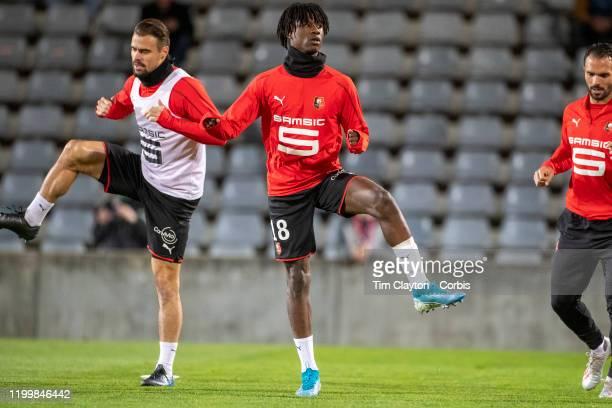 Damien Da Silva of Rennes and Edouardo Camavinga of Rennes during team warm up before the Nimes Olympique V Stade Rennes French Ligue 1 regular...
