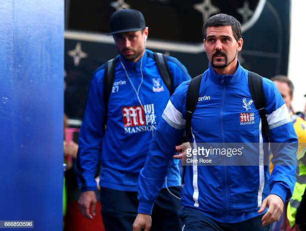 Damien Delaney and Julian Speroni of Crystal Palace arrive prior to the Premier League match between Crystal Palace and Arsenal at Selhurst Park on...