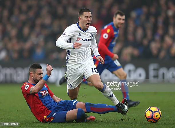 Damien Delaney of Crystal Palace fouls Eden Hazard of Chelsea during the Premier League match between Crystal Palace and Chelsea at Selhurst Park on...